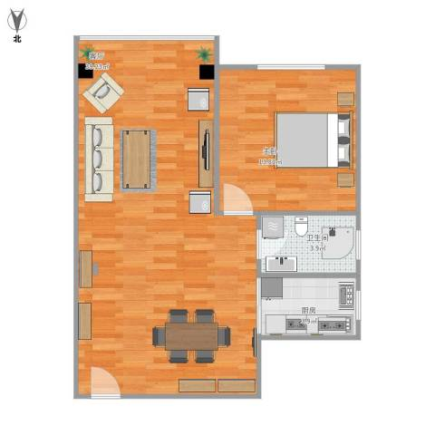 真光四街坊1室1厅1卫1厨81.00㎡户型图