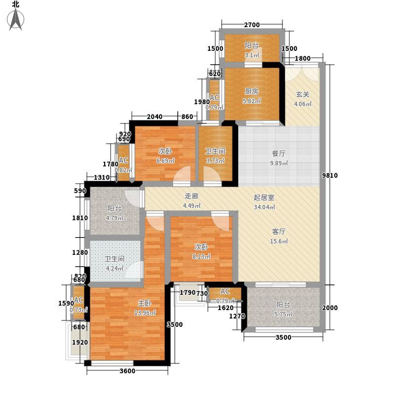 保利江上明珠畅园a户型3室2厅