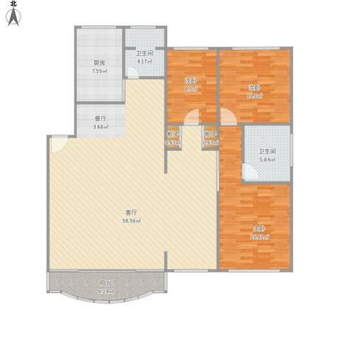 百家湖花园伦敦城3室1厅2卫1厨161.00㎡户型图