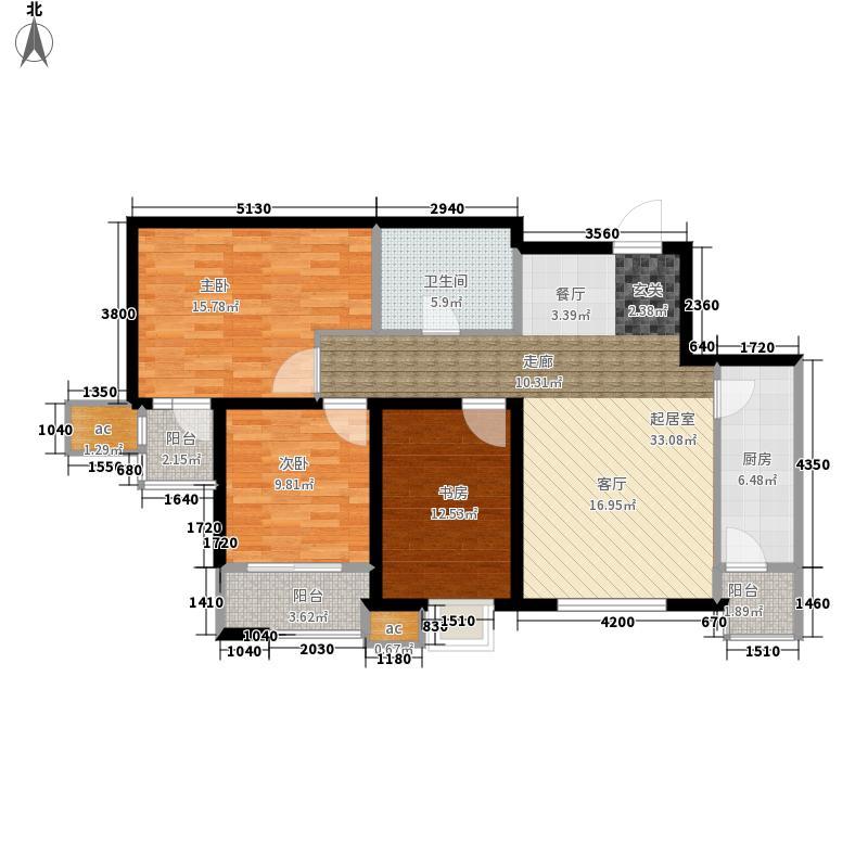 明湖白鹭郡103.00㎡10#楼户型2室3厅