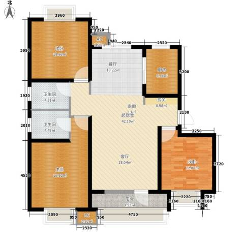 荣盛・阿尔卡迪亚3室0厅2卫1厨122.00㎡户型图