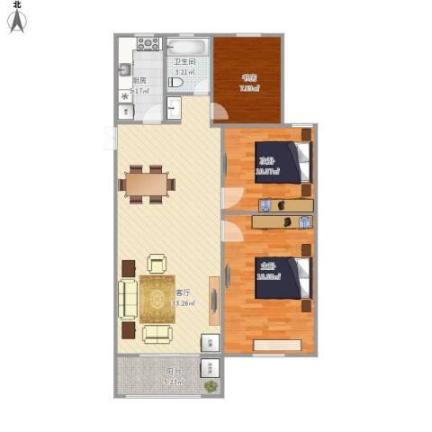 佳源巴黎都市3室1厅1卫1厨109.00㎡户型图