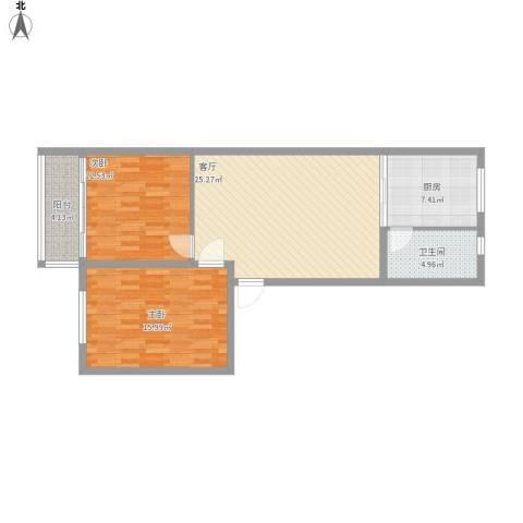 海棠小区2室1厅1卫1厨99.00㎡户型图