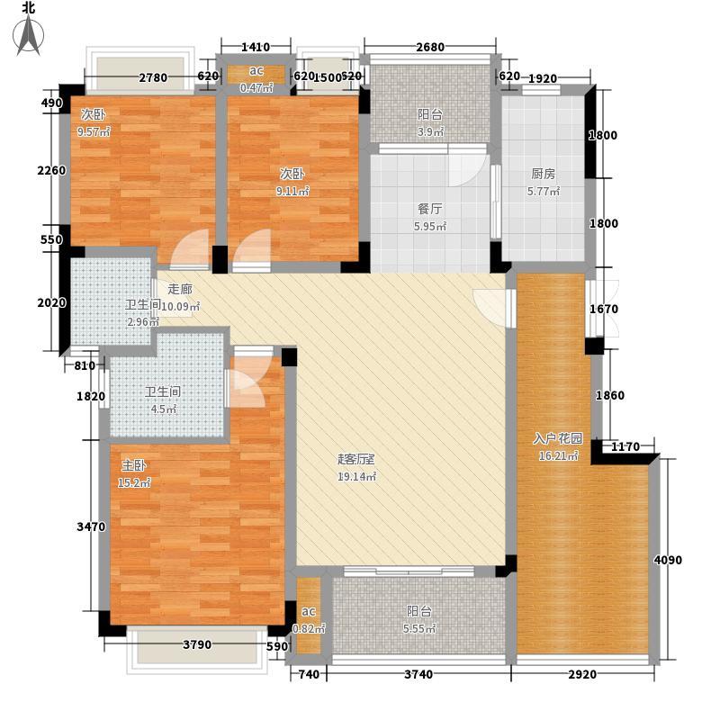 渝水坊二期103.14㎡一期8号楼1单元3层1号房3室户型