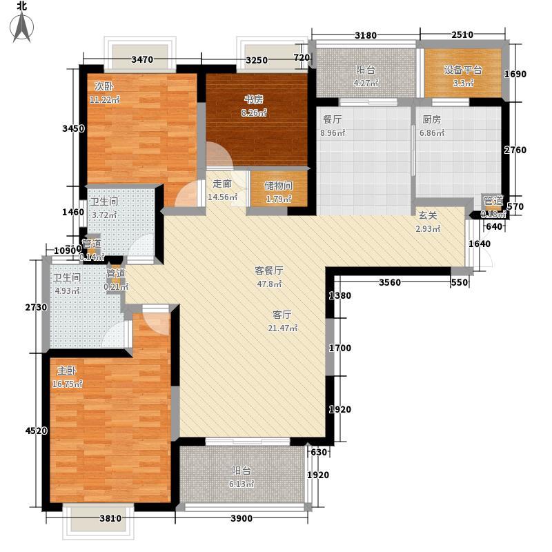 南京海峡城134.00㎡一期1-3号楼标准层A1户型