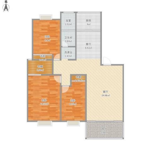 天地新城天玑座3室1厅1卫1厨116.00㎡户型图