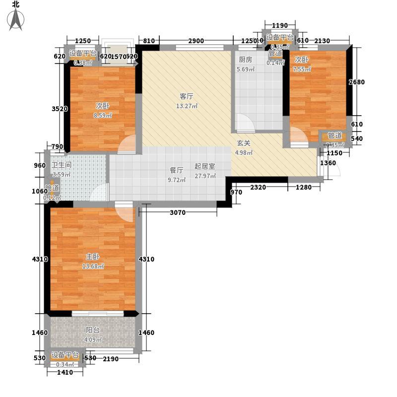 万科城85.00㎡二期17-19号楼B户型3室2厅