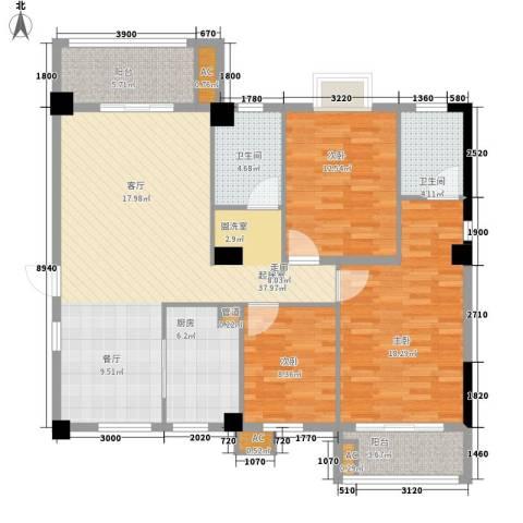 安信家园3室0厅2卫1厨118.00㎡户型图