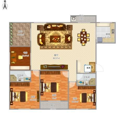 国贸海景公寓4室1厅2卫1厨255.00㎡户型图