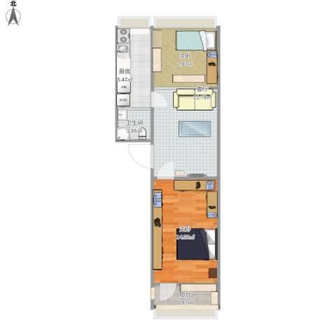 体育馆西路2号院2室1厅1卫1厨60.00㎡户型图