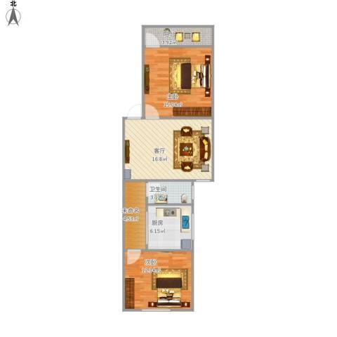 燕山小区2室1厅1卫1厨84.00㎡户型图
