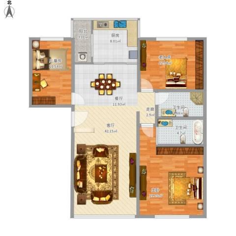 裕丰花园3室1厅2卫1厨146.00㎡户型图
