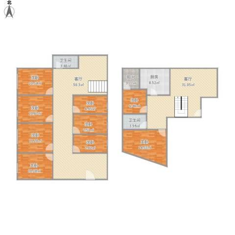 美然动力街区一期9室2厅2卫1厨251.00㎡户型图
