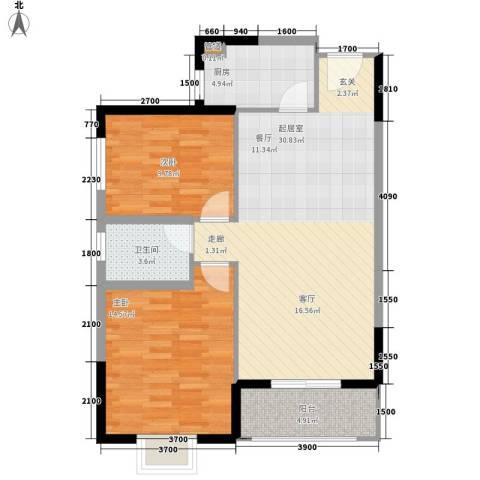昆明时光2室0厅1卫1厨93.00㎡户型图