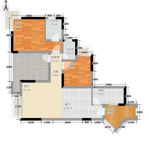 富士达锦绣格林2室0厅2卫1厨84.00㎡户型图