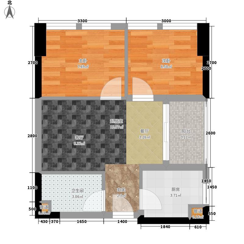 富临理宫56.00㎡一期6号楼标准层C4户型