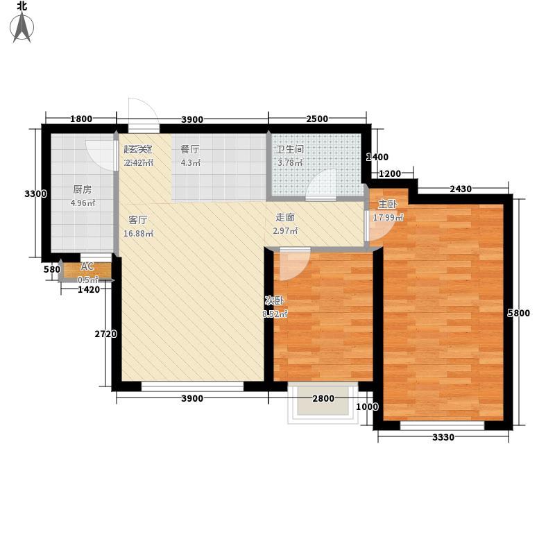 中广宜景湾96.00㎡建筑面积约为E5/E6户型2室2厅