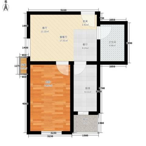 七里香格庄园1室1厅1卫1厨59.00㎡户型图