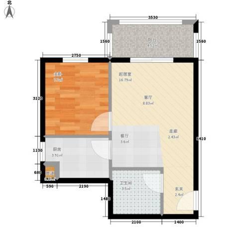 1+8时代广场1室0厅1卫1厨57.00㎡户型图