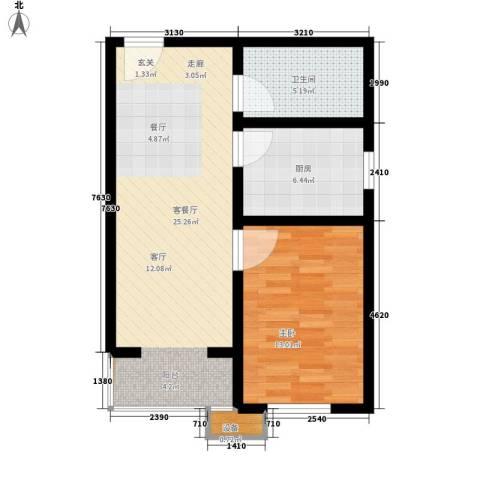 七里香格庄园1室1厅1卫1厨62.00㎡户型图