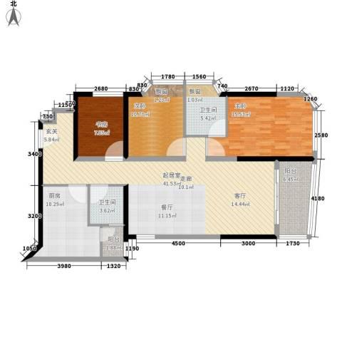 海客瀛洲3室0厅2卫1厨118.00㎡户型图
