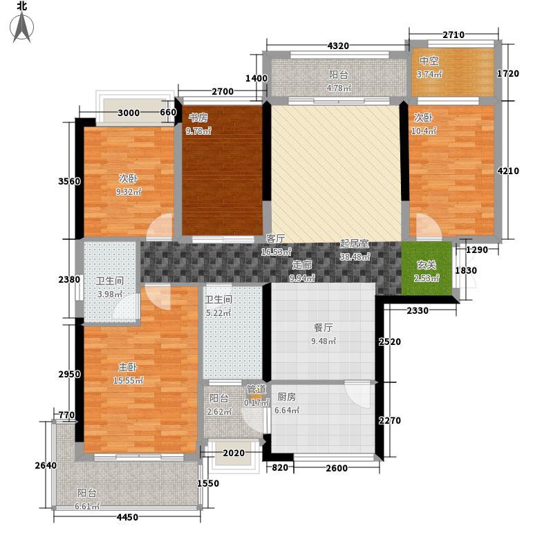 中洲中央公园(深圳)131.24㎡C4方-方户型4室2厅