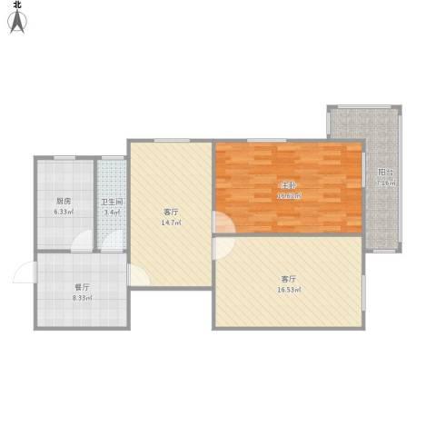 乐山小区南区1室3厅1卫1厨99.00㎡户型图