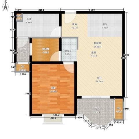 合生城邦三街坊1室0厅1卫1厨72.00㎡户型图