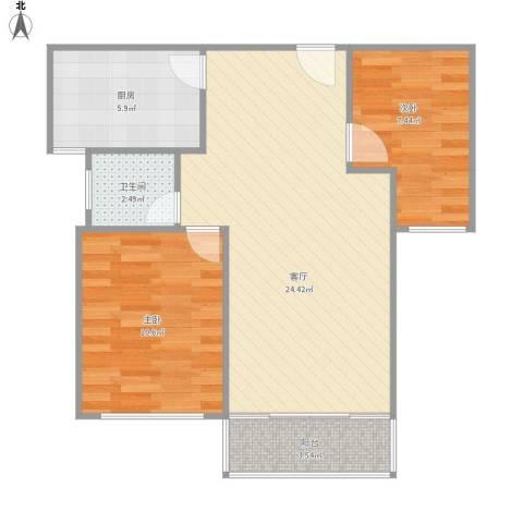 新城香溢紫郡2室1厅1卫1厨74.00㎡户型图