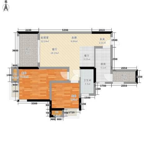 巨龙江山国际2室0厅1卫1厨79.00㎡户型图
