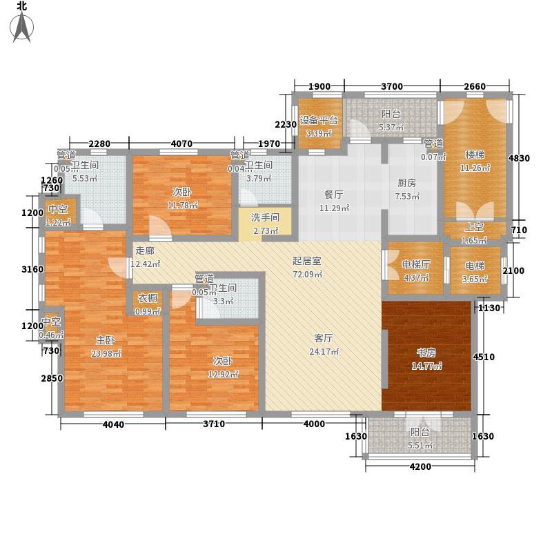 启锐园197.34㎡H户型4室2厅