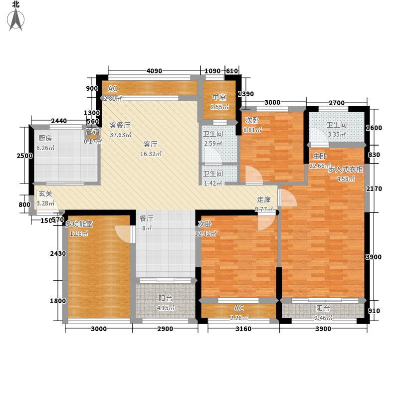中航山水蓝天136.43㎡山水蓝天E-2户型4室2厅