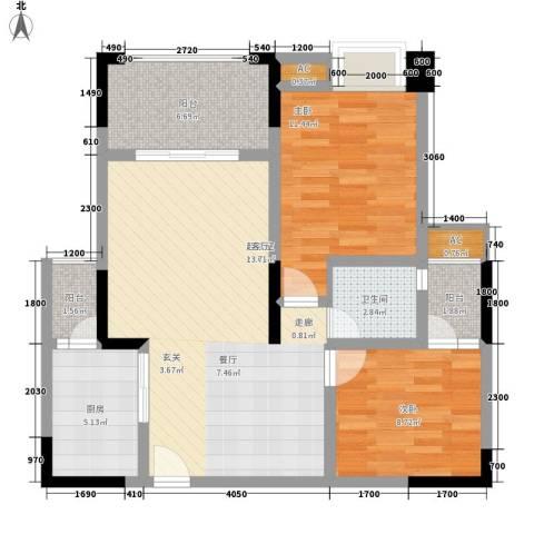中国铁建中铁5号2室0厅1卫1厨68.00㎡户型图