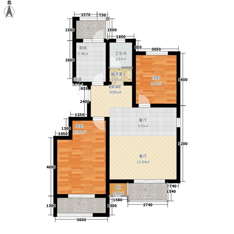 弘祥家园102.00㎡1、2、3#楼A单元6层2室户型