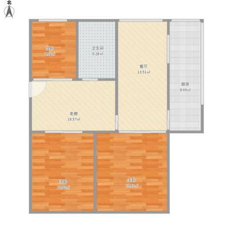 煤炭厅宿舍3室1厅1卫1厨95.00㎡户型图