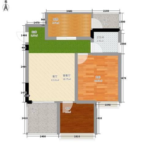 缤纷时代2室1厅1卫1厨58.92㎡户型图