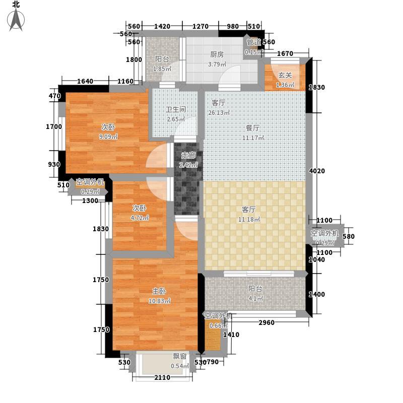 金科天宸88.00㎡2-1幢高层C户型2室2厅