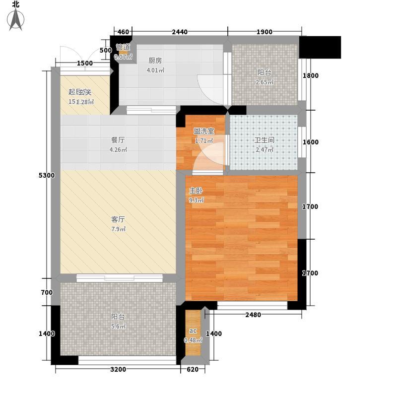 渝水坊二期49.53㎡一期2/3/4号楼标准层E户型