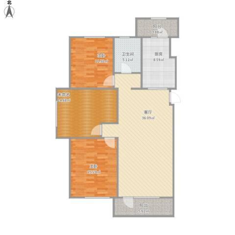 中信御园2室1厅1卫1厨136.00㎡户型图