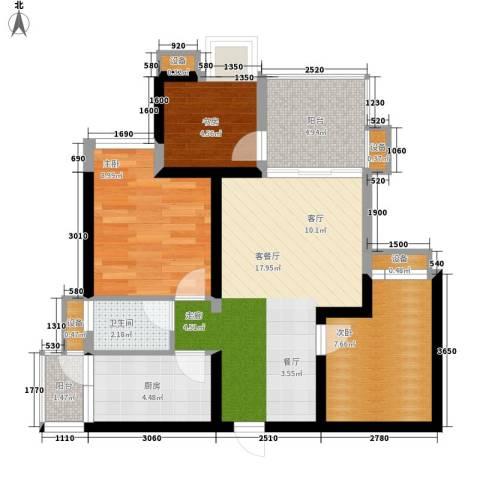 缤纷时代3室1厅1卫1厨63.93㎡户型图