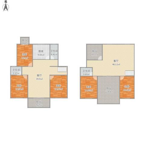 318693金利花园5室2厅3卫1厨286.00㎡户型图