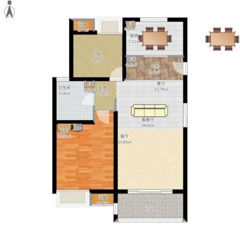 中信泰富又一城2室1厅1卫1厨113.00㎡户型图