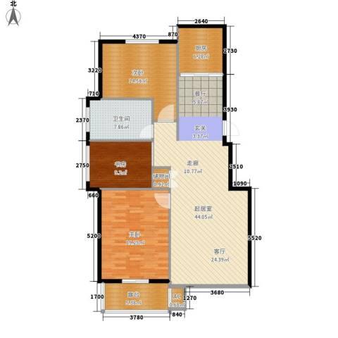 绿江太湖城金色水岸3室0厅1卫1厨118.00㎡户型图