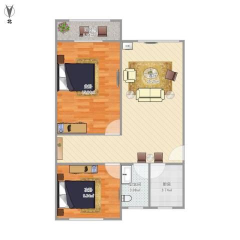 东湾小区2室1厅1卫1厨80.00㎡户型图