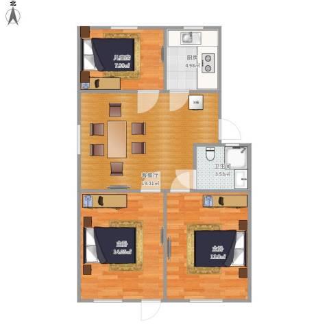 里厍新村(一村至二村)3室1厅1卫1厨85.00㎡户型图