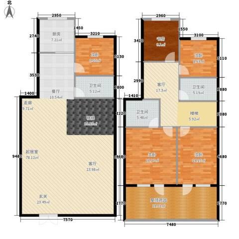 绿江太湖城金色水岸5室1厅3卫1厨219.00㎡户型图