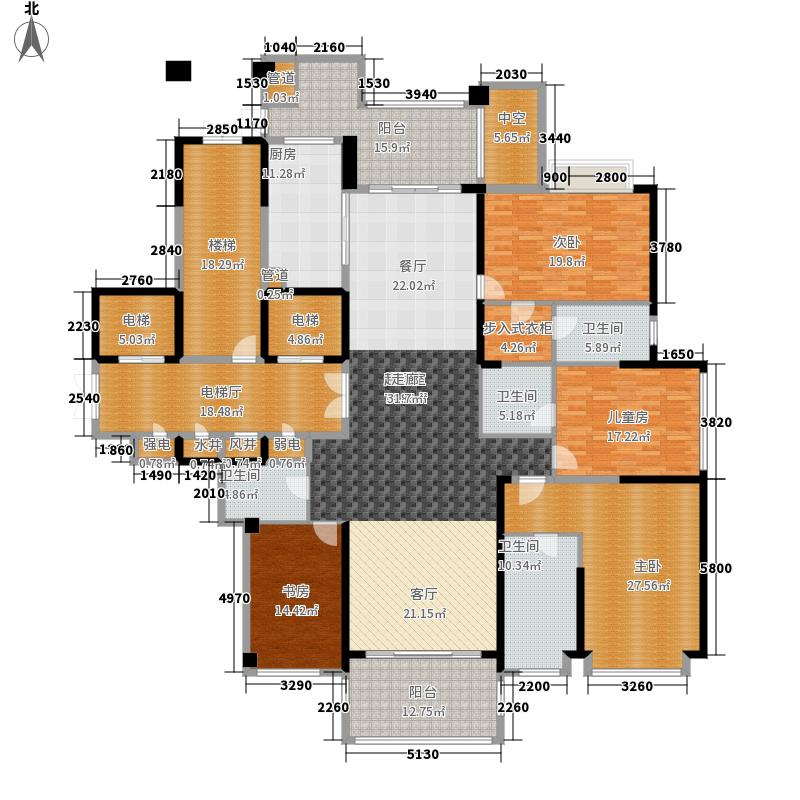 湘江壹号266.00㎡湘江一号高层户型4室3厅