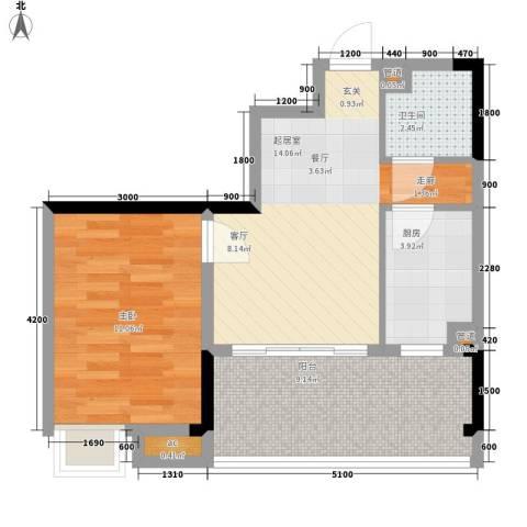 荣涛・丽苑1室0厅1卫1厨41.14㎡户型图