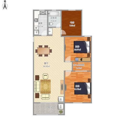 佳源巴黎都市3室1厅1卫1厨126.00㎡户型图