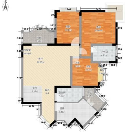 春晖花园3室0厅2卫1厨116.00㎡户型图